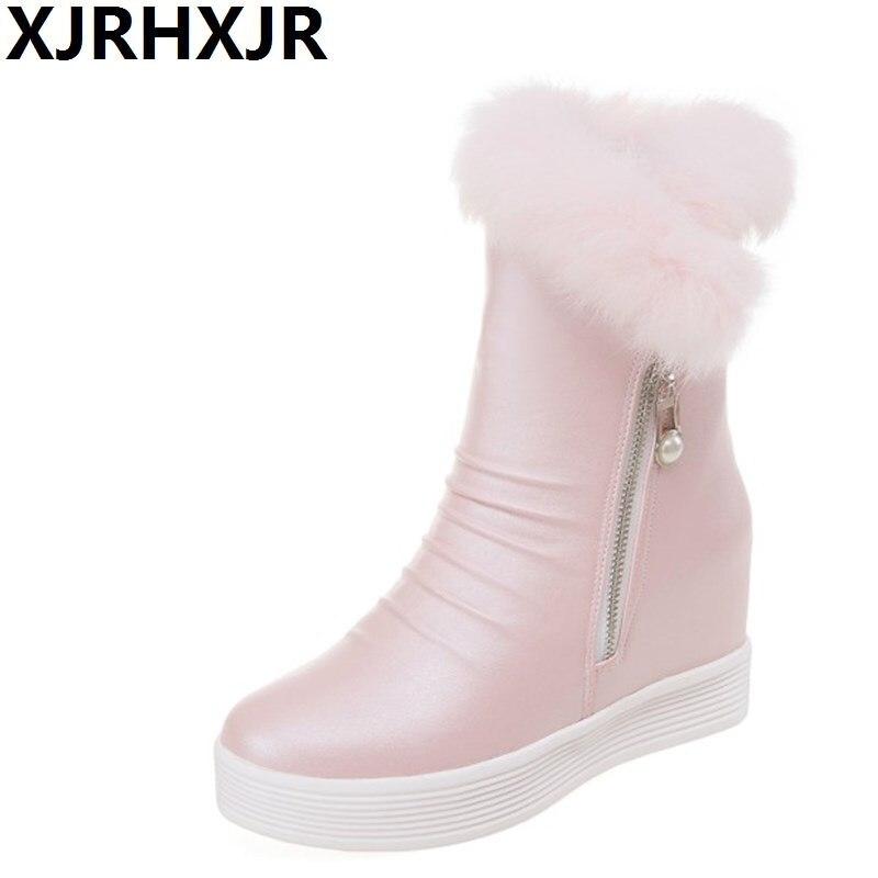 XJRHXJR Free shipping 2017 New Shoes Women Boots Designer Ladies Winter Outdoor Keep Warm Fur Boots Waterproof Womens Snow Boot