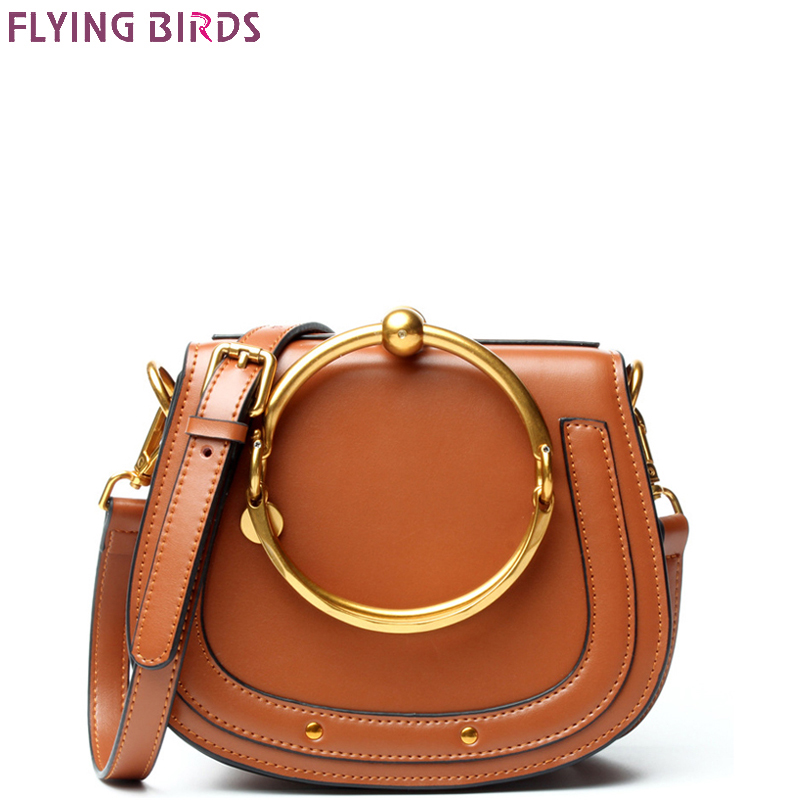 FLYING BIRDS Genuine Leather bag famous brands Women's handbag Designer Saddle Messenger bags High Quality tote Shoulder Bag стоимость