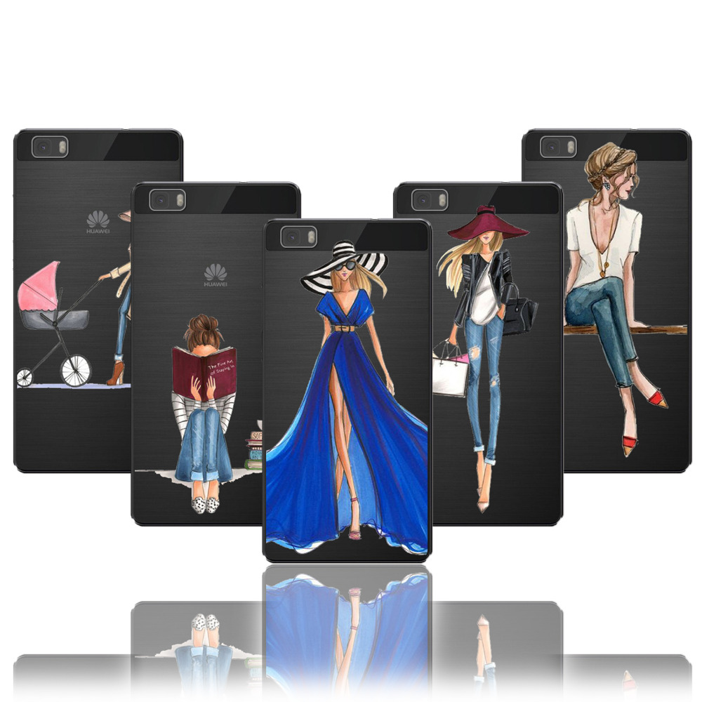 Huawei P Case Transparent Girl Fashion