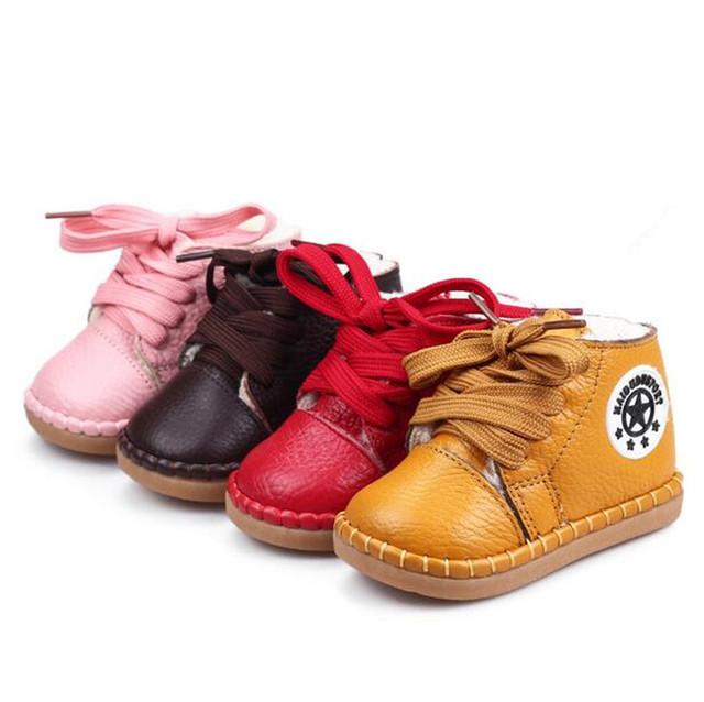 2017 niñas y niños toddler shoes niños zip casual shoes-atado cruz deporte calzado para niños botas de nieve infantil cuero genuino