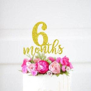 6 месяцев Топпер для торта, 1/2 дня рождения золотые блестящие топперы ~ Половина Топпер для торта на день рождения ~ Баннер с блестками ~ украш...