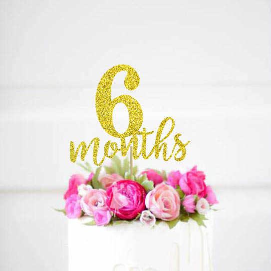 57b799e1 6 months cake topper, 1/2 Birthday Gold Glitter Topper~Half Birthday Cake