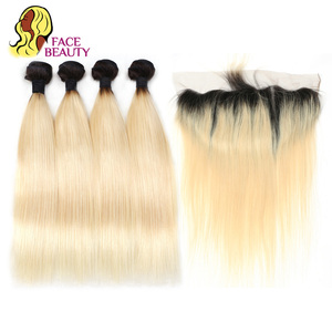 Image 2 - Facebeauty 1B 613 Dark Root Blonde Ombre Brazilian Remy Straight Hair 3/4 Bundle with 13x4 Lace Frontal Closure Free Middle Part
