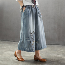 Summer National Style Embroidered Vintage Denim Wide Leg Pants Elastic Waist Woman Casual Loose Pocket Jeans Ankle-length Pants summer national style embroidered vintage denim wide leg pants elastic waist woman casual loose pocket jeans ankle length pants