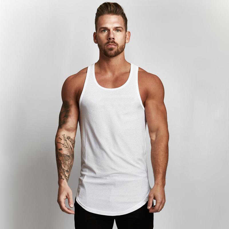 f36b552940a0 Muscleguys Golds Solid Tank Top Men Sleeveless Shirt Bodybuilding Stringer Fitness  Mens Mesh Singlet Muscle Clothes