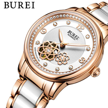 BUREI Brand Crystal Sapphire Ladies Ceramic Automatic Mechanical Watch Fashion Dress Skeleton Wristwatches 50M Waterproof Watch