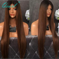 Ombre Color Human Hair lace Front Wigs 13x4 Baby Hair Brazilian Remy Straight Hair Wig 130 Density Pre Plucked for Women Qearl