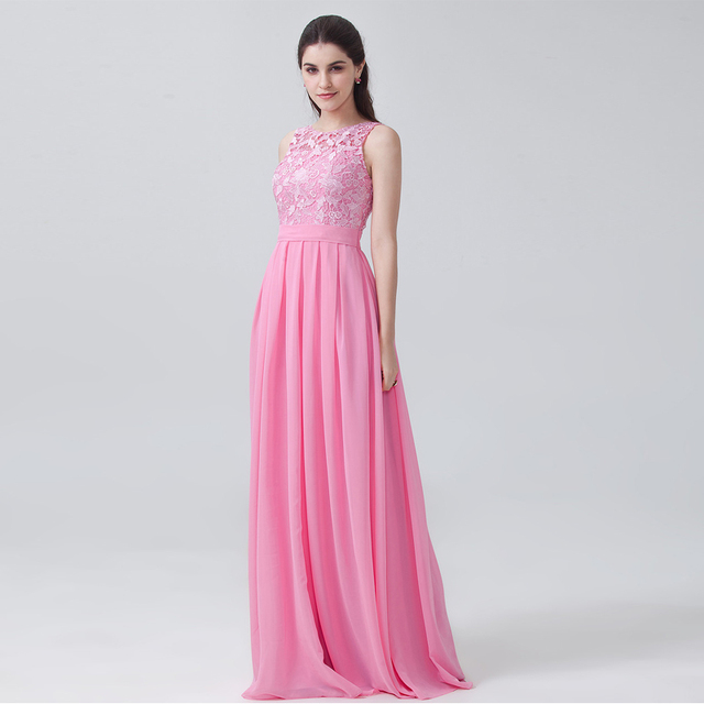 191d7dca572a New vestido madrinha Pink Lace Sexy A Line Sleeveless Long Bridesmaid  Dresses Maid Of Honor For