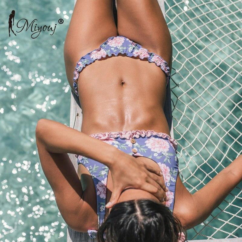 Miyouj Floral Bikini Push Up Ruffle Swimsuit Lace Up Sexy  Swimwear Women Print Swimming suit Brazilian Biquini 2018 Bikini Set