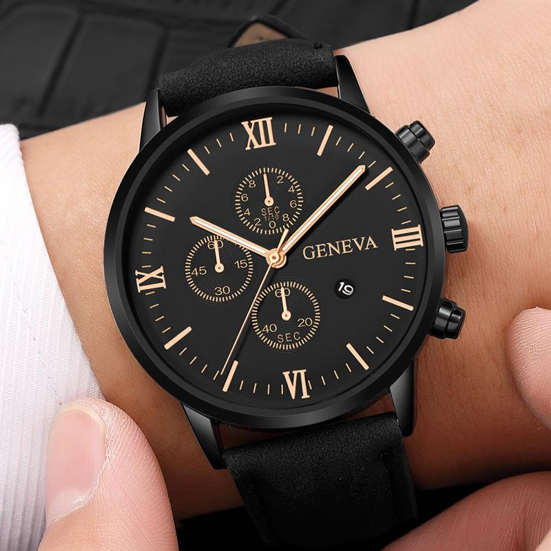 Fashion Men Black Watch Casual Leather Band Brown Quartz Wristwatch Roman Number Date Man Watches Reloj Hombre 2020