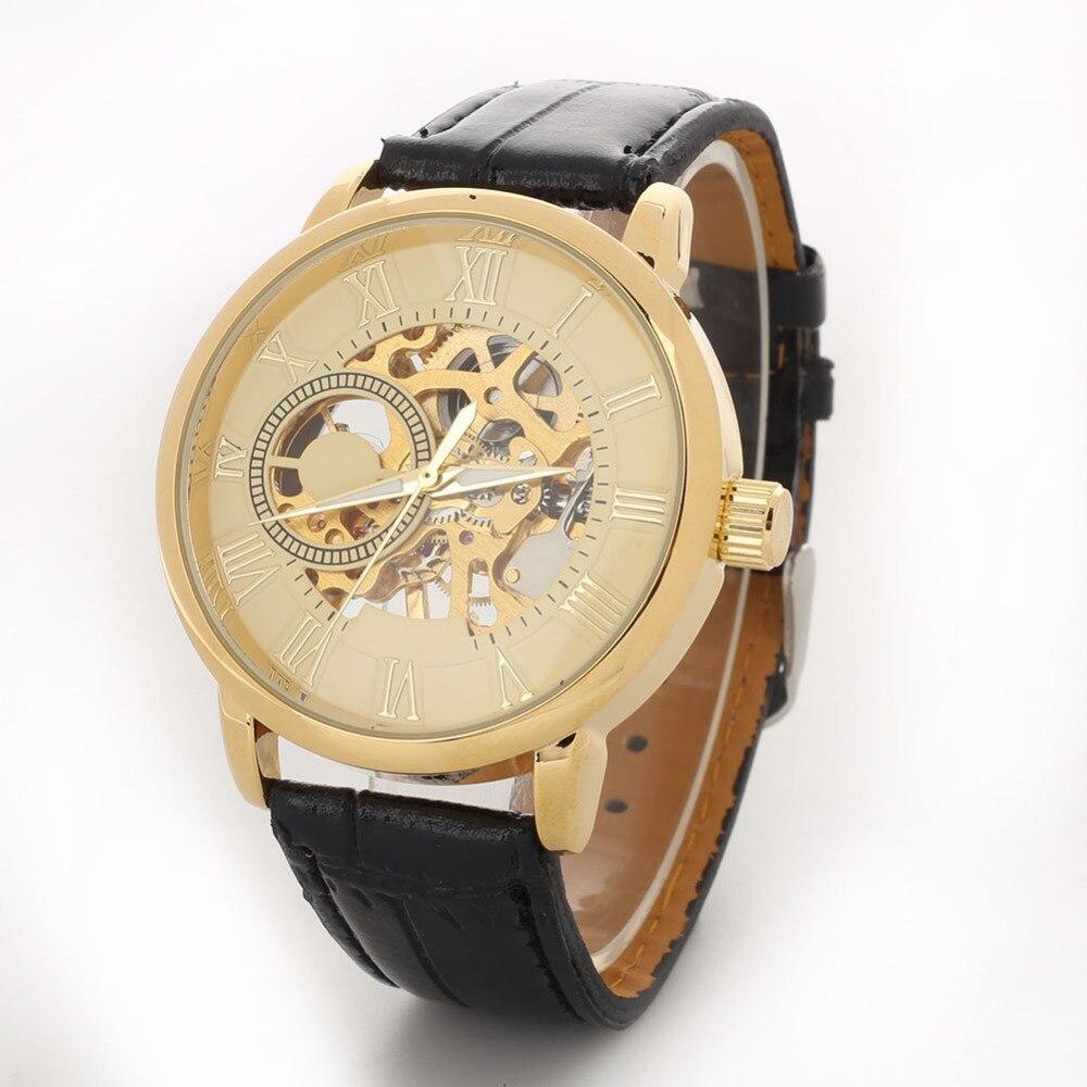 2018 Fashion Mechanical Watch Men Luxury 3D Hollow Engraving Case Roman Numbers Skeleton Dial Wrist Watch