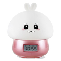 USB Rechargeable Night Light Led Silicone Night Lamp Rabbit Multifunctional Alarm Clock With Remote Control Colorful