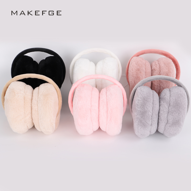 Autumn And Winter New Ladies Earmuffs Solid Color Fashion Warm And Comfortable Skiing Sports Adjustable Cute Fluff Unisex Female