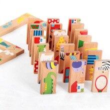 28 шт./компл. животных Цветной домино деревянные головоломки мультфильм игрушки Монтессори Развивающие детские игрушки милые подарки на день рождения веселые детские игры