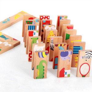 28pcs/set Animal Colored Dominoes Wooden Puzzle Cartoon Montessori Educational Baby Toys Cute Birthday Gifts Funny Kids Games(China)