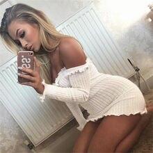 Off Shoulder Long Sleeve Slim Elastic Bodycon Dresses