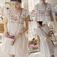 Vintage 70s Flower Mexican Embroidery BOHO Party Wedding Mini Dress Cotton Top Solid White Hippie Casual Blouse Women Vestidos