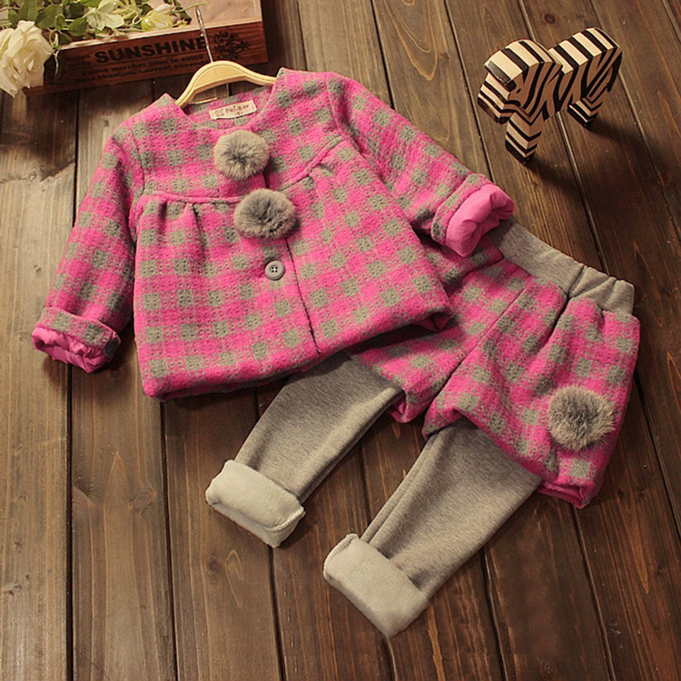 Children 2015 winter girl baby Princess's Forestry Department small fresh Plaid Polo sets wholesale
