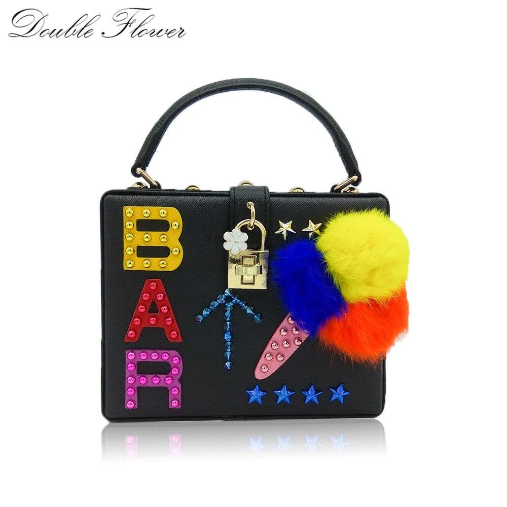 Double Flower BAR Letter Fur Icecream Black PU Women Fashion Totes Shoulder Bag Casual Cross Body Box Clutch Bag Evening Purse