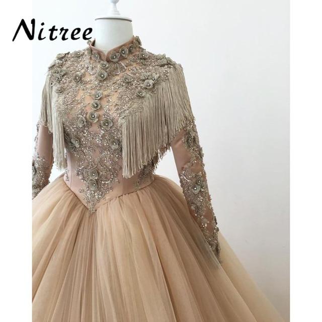 Muslim Evening Dresses 3D Flower Turkish Arabic Dubai 2018 Formal Prom  Gowns Dress For Weddings Moroccan Kaftan Glitter 2017 New 74ef8f4ea670