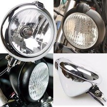 7 Chrome Bates Retro Headlight H4 55/60W for Harley Chopper Custom Streetfighter Cafe Racer Honda Yamaha Suzuki Kawasaki
