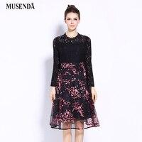MUSENDA Plus Size 5XL Women Black Lace Mesh Patchwork Print Bow Tunic Dress 2017 Autumn Lady