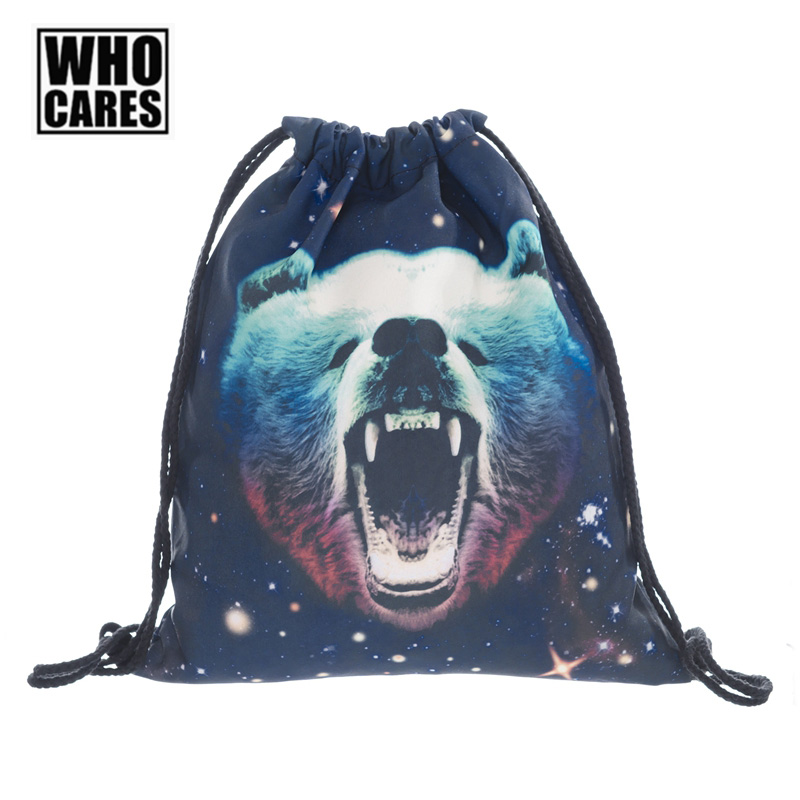 Galaxy Grizzly Bear Printing Backpack Who Cares Men Travel Drawstring Bag Fashion Women Shopping Back Pack Casual Schoolbags ...