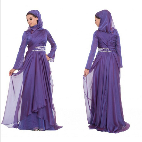 2015 robe de soiree Purple Plus Size Long Sleeve Prom Dresses hijab ...