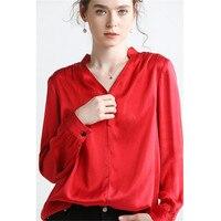 Hodisytian 2019 Новая женская блузка Рубашки из натурального шелка элегантный v образный вырез тонкий крой Туника женские Топы Блузка длинный рука