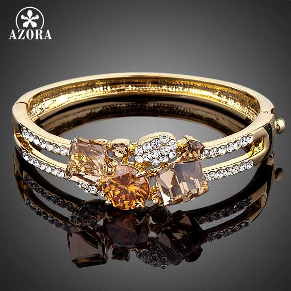 AZORA Brand Design Gold Color Gold Colour Stellux Austrian Crystal Bangle Bracelet TB0007