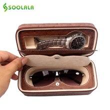 Soolala из искусственной кожи Очки часы Для женщин Мужская Мода Очки Box Футляр Очки для чтения солнцезащитных очков, Жесткий Box сумка очечник