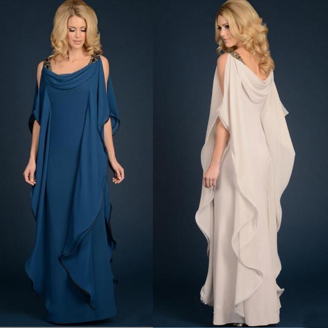 Elegante Longo Mãe da Noiva Vestidos Frisada Chiffon Calças Terno Do Casamento Plus Size Frisada Ruffles Fluindo Bainha Até O Chão