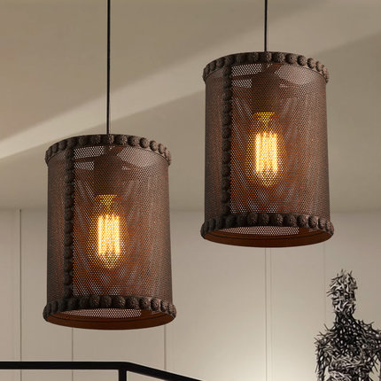Loft Style Iron Net Retro Pendant Light Fixtures Edison Industrial Vintage Lighting For Indoor Dining Room RH Hanging Lamp loft industrial rust ceramics hanging lamp vintage pendant lamp cafe bar edison retro iron lighting