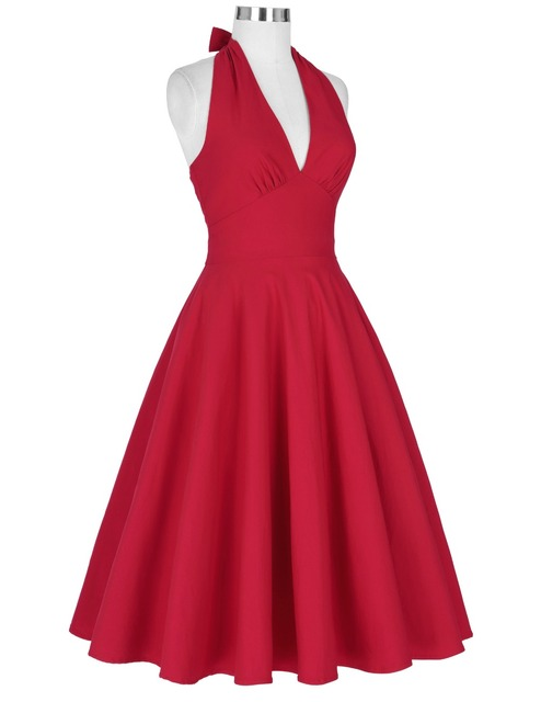 Women sexy red retro vintage marilyn monroe style halter v-Neck party picnic dress autumn casual dress plus size clothing