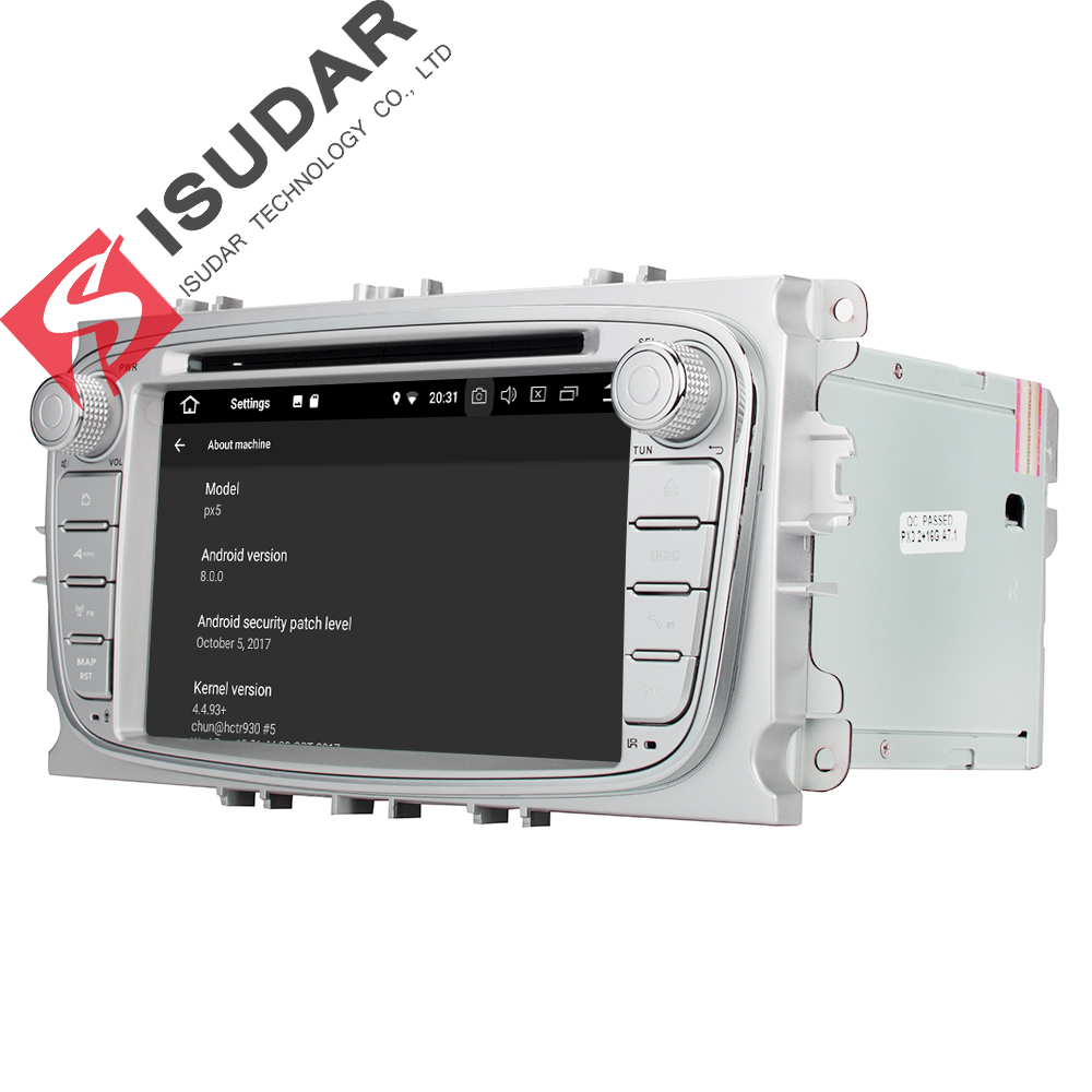 Isudar Voiture lecteur multimédia Android 8.0 GPS Autoradio 2 Din Pour FORD/Focus/Mondeo/S-MAX/C-MAX/ galaxy RAM 4 GB 32 GB Radio DSP - 4
