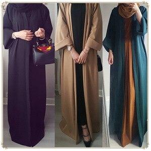 Image 1 - 2020 Abaya Dubai müslüman elbise Kaftan Kimono bangladeş Robe Musulmane İslami giyim Kaftan Marocain türk bayram hediye parçası