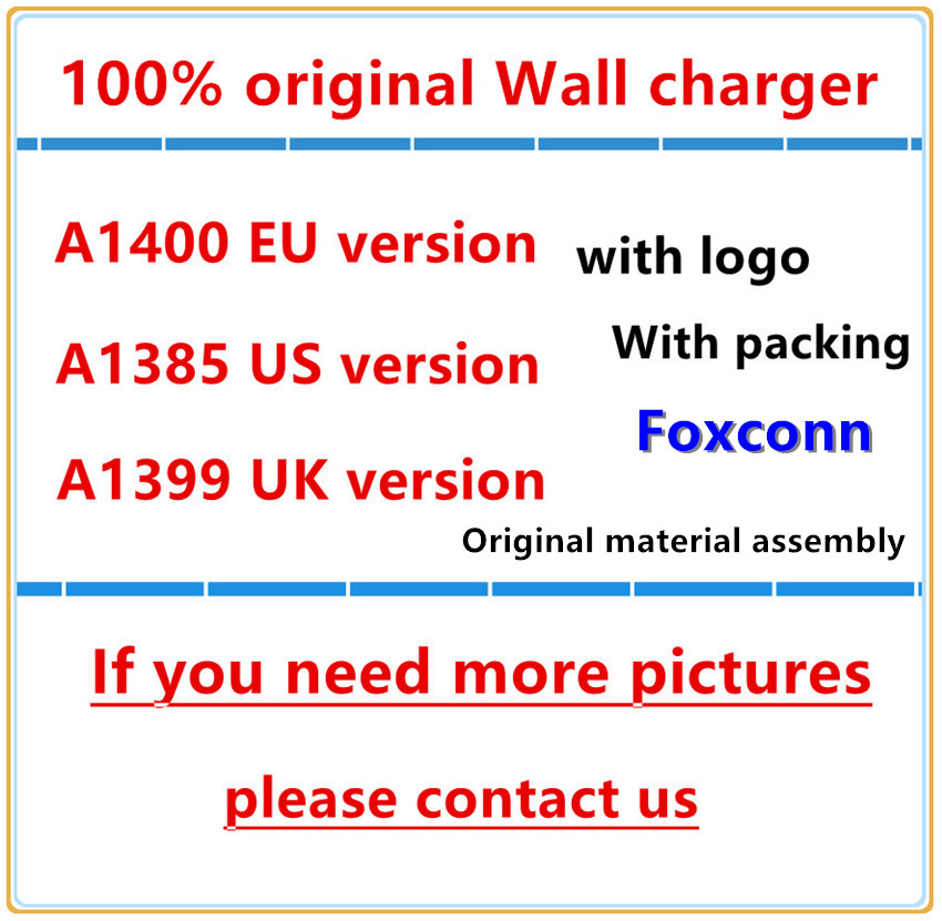 50pcs/Lot 100% Original OEM Quality A1400 EU US UK Plug USB AC Power Adapter Wall Charger For iX XS 6 7 8 PLUS With packaging-in Mobile Phone Chargers from Cellphones & Telecommunications    1