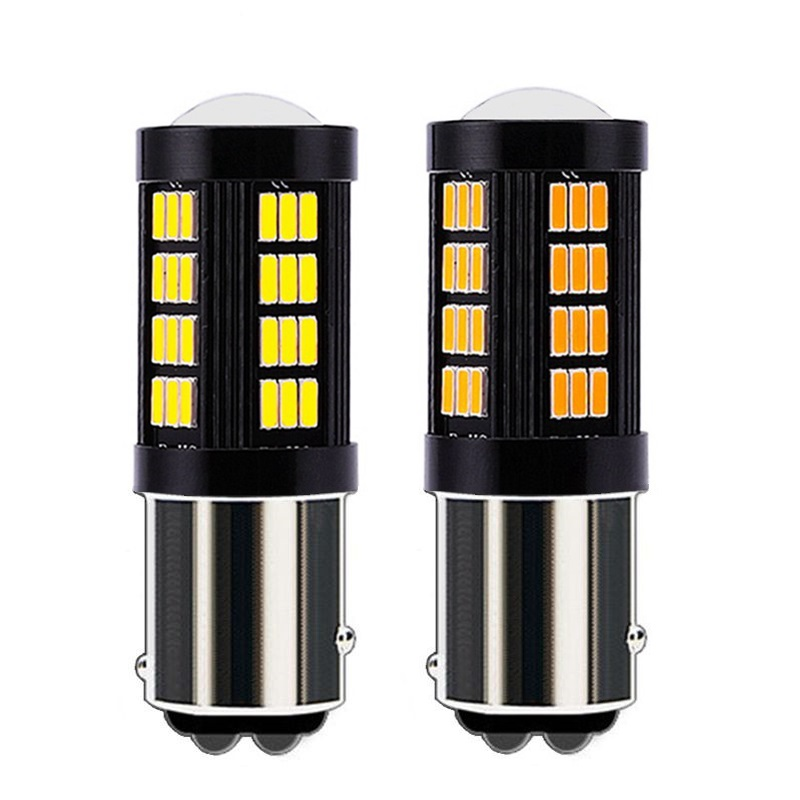 D-Lumina 1157 2057 3057 7528 7507 BAY15D P21//5W T20 LED Bulbs,Error Free Canbus 6000K 1200 Lumens 15-SMD 3030 PHILIPS Chipsets For RV//Brake//Tail Lights,Back Up Reverse Light,Xenon White Pack of 4