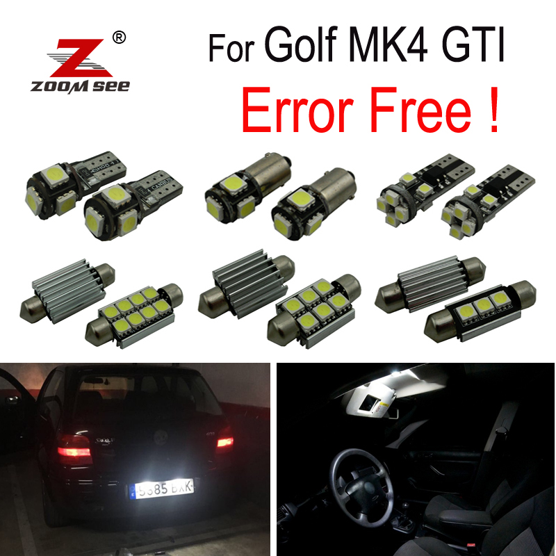 15pcs LED license plate lamp for Volkswagen VW GOLF 4 MK4 Jetta GTI  LED Bulb Interior dome light full Kit (1999-2005)