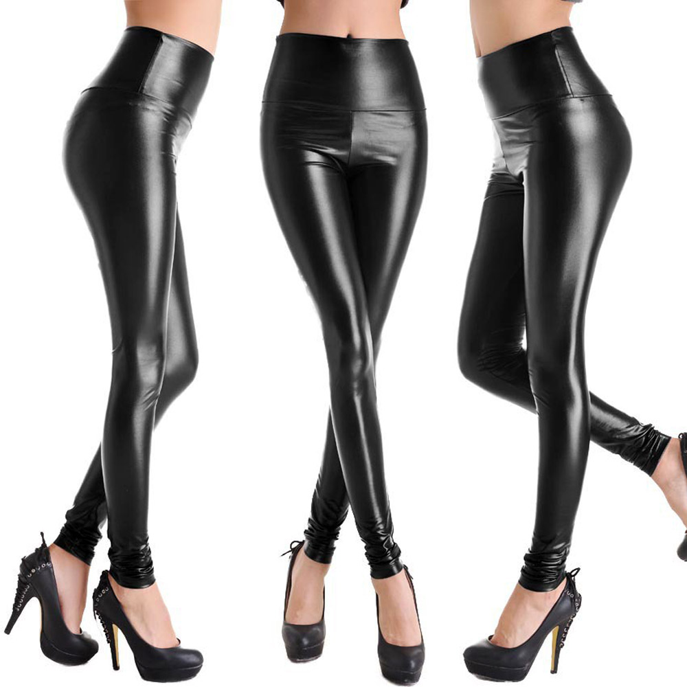 Highwaist Shiny Pu PVC Metallic Leather Wetlook Leather Leggings Stretch Hot Pants Thigh-High Dropshipping