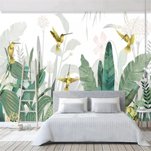 beibehang Custom fashion silky papel de parede wallpaper Nordic hand-painted small fresh tropical plants flower birds background