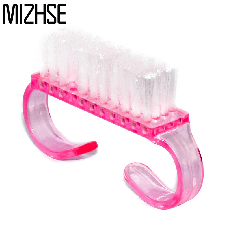 цена MIZHSE 1pcs Nail Cleaning Brush Dust Clean Handle Scrubbing Tool File Plastic Handle DIY Pedicure Manicure Soft Remove Dust