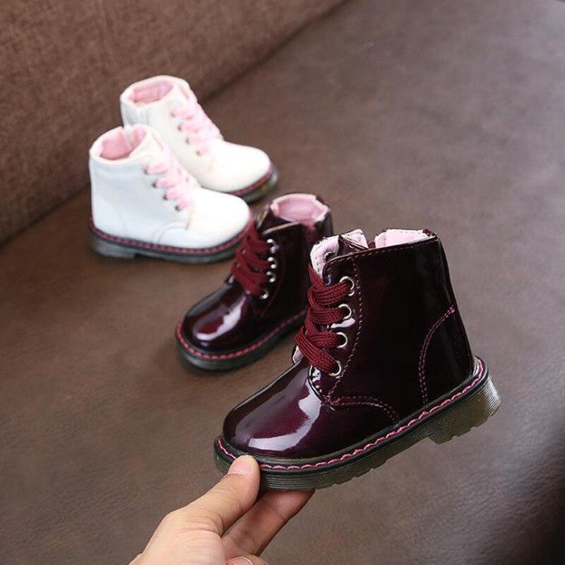 HaoChengJiaDe otoño invierno más vendido chicos Martin botas nueva marca de moda niños zapatos de cuero niñas cremallera suaves botas Casuales