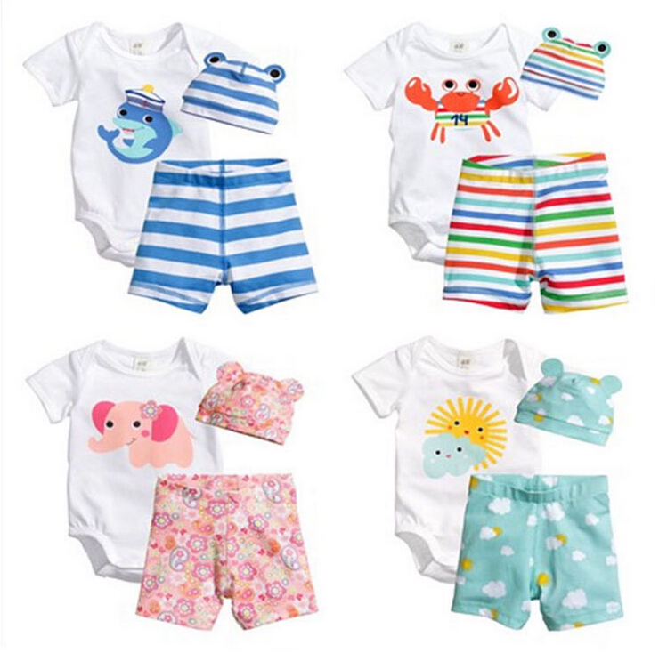 Baby Rompers Summer Baby Girl Clothing Set Cotton Short Sleeve Baby Boy Clothes Newborn Baby Rompers Roupas Bebe Kid Jumpsuit 3pcs mini mermaid newborn baby girl clothes 2017 summer short sleeve cotton romper bodysuit sea maid bottom outfit clothing set