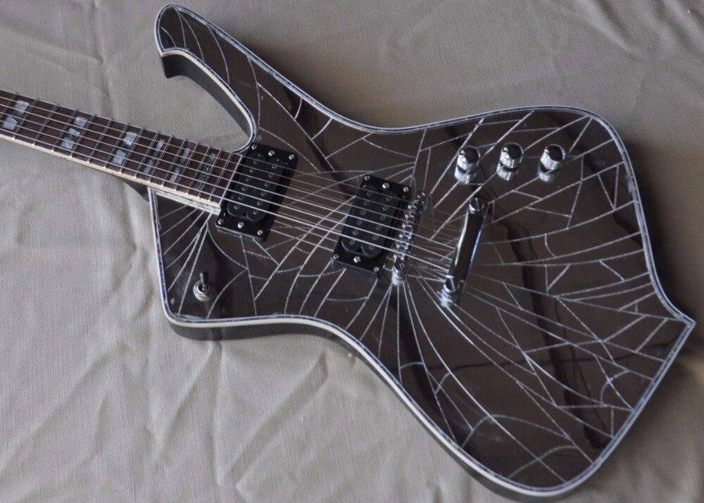 Personnalisé Nouvelle Arrivée Miroir fissures paul stanley Guitare Électrique 6 cordes Chine top qualité Alien Guitarra instruments de musique