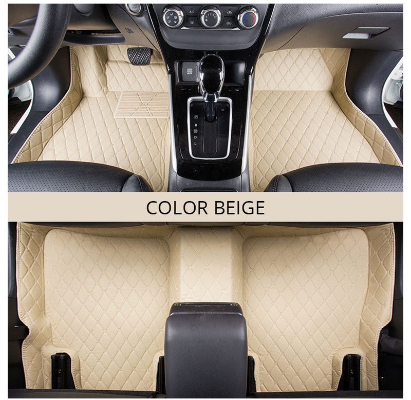 Car Floor Mats Rugs For LHD KIA RIO K2 4 2018 2017 Custom Carpet Artificial Leather Black Red Covers Interior Auto Accessories