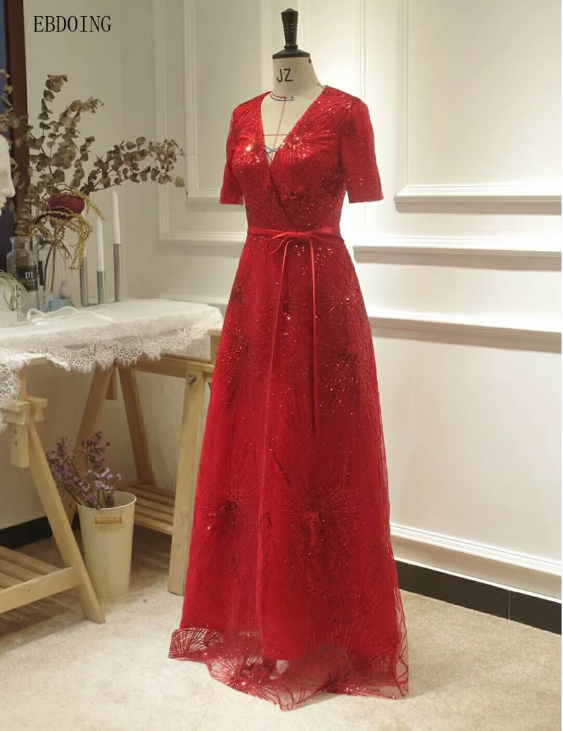 Real Photo A-line   Evening     Dress   Red V-neck Neckline Vestidos de festa Short Sleeves Plus Sizes Floor-length With Sequined
