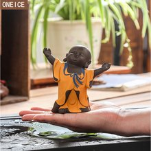 Small monk Buddha statue sculpture purple sand home decoration intimate accessories statue holder tea pet tea decoration(China)
