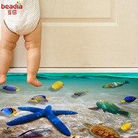 3D Творческий водостойкие Морская звезда Дельфин пляж наклейки на пол, на стену ванная комната спальня детская комната пол стикеры съёмные Ф...