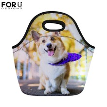 FORUDESIGNS Cute Dog Print Lunch Bag for Kid Welsh Corgi Pembroke Portable Food Bags Women Thermal Insullate Lunchbag Picnic Box